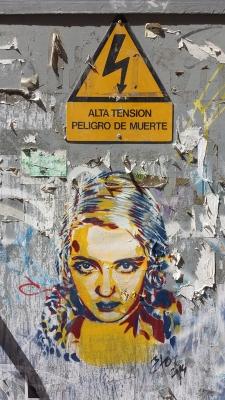 Intervención grfica de BTOY (Andrea Michaelsson) en los alredores de la calle Lagunillas de Málaga